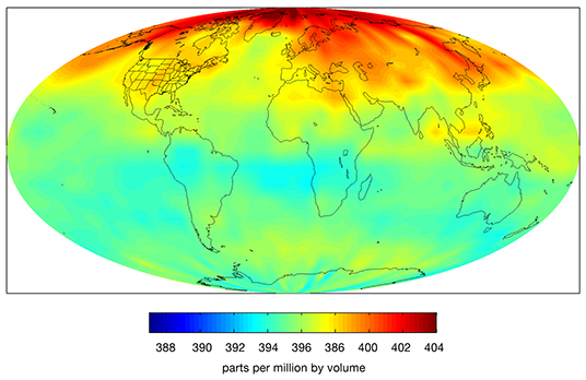 Carbon Dioxide in Earth's Mid-Troposphere, April 2013 Monthly Average